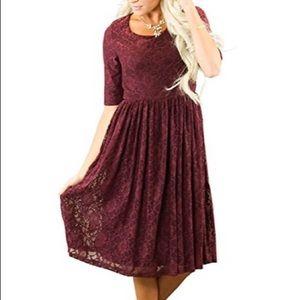 Mikarose burgundy lace knee-length dress